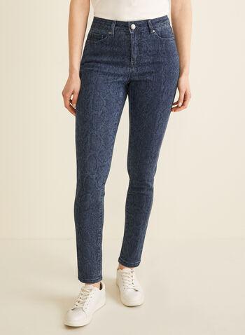 Jeans à jambe étroite motif serpent, Bleu,  jeans, jambe étroite, serpent, poches, coton extensible, printemps été 2020