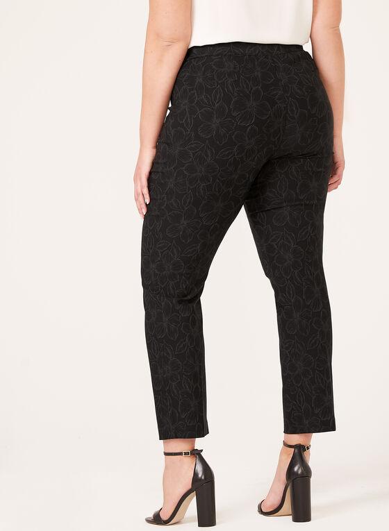 Pull-On Floral Print Slim Leg Pants, Black, hi-res