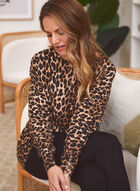 Dolman Sleeve Leopard Print Sweater, Black