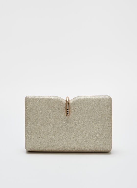 Metal Clasp Glitter Box Clutch, Gold, hi-res