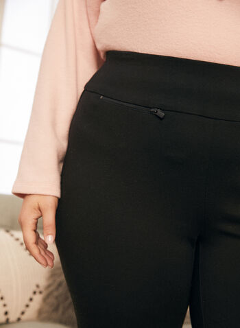 Slim Leg Pull-On Pants, Black,  pants, pull-on, slim, ponte di roma, zipper, pleats, ankle, fall winter 2020