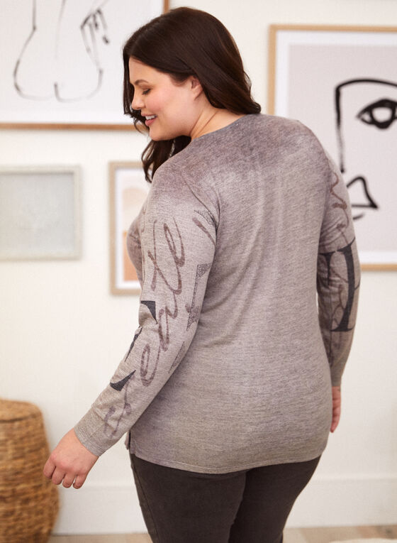 Text Print Sweater, Brown
