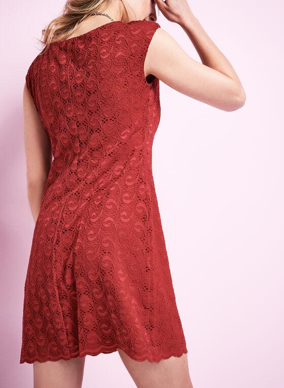 Robe en dentelle à épaules prolongées, Rouge, hi-res