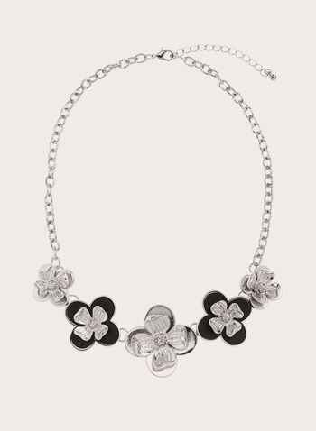 Floral Bib Necklace, Black, hi-res