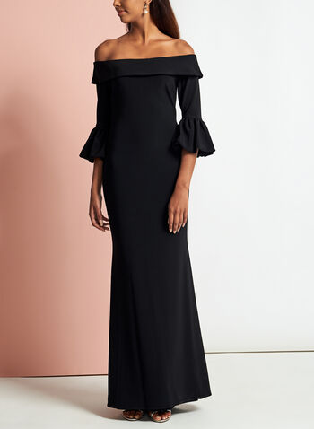 Off The Shoulder Puff Sleeve Gown, Black, hi-res