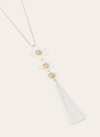 Tassel Pendant Necklace With Flower Detail, White, hi-res
