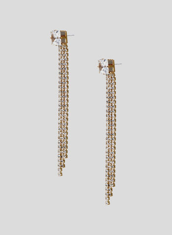 Faceted Crystal Dangle Earrings, Gold, hi-res
