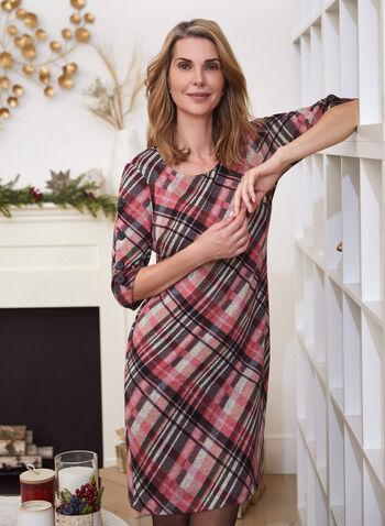 Tartan Print Knit Dress, Pink,  dress, tartan, knit, fall winter 2020