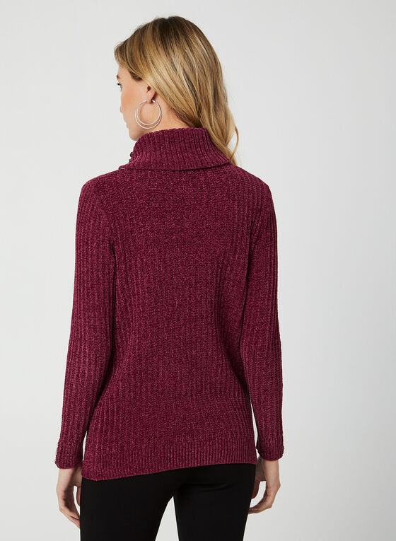 Split Collar Chenille Sweater, Purple