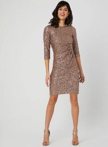 Sequin 3/4 Sleeve Dress, Gold, hi-res