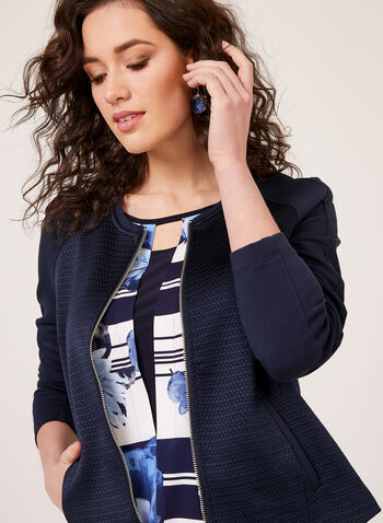 Floral Stripe Print Blouse, Blue, hi-res