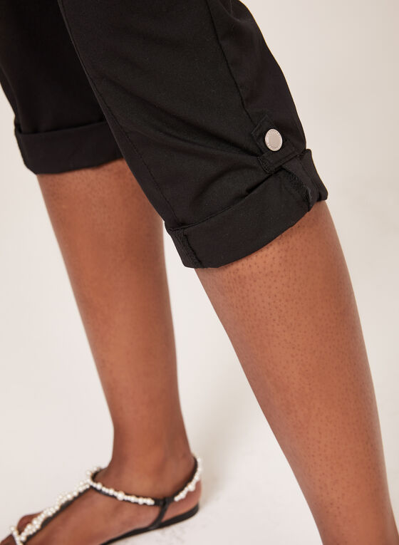 Modern Fit Cargo Capri Pants, Black, hi-res