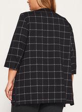 Plaid Print Open Front Jacket, Black, hi-res