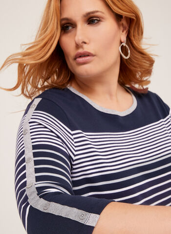 Striped 3/4 Sleeve Cotton T-Shirt, Blue, hi-res