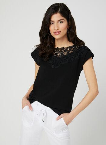 T-shirt en coton et détails crochet, Noir, hi-res,  t-shirt, mancherons, col dégagé, crochet, coton, printemps 2019