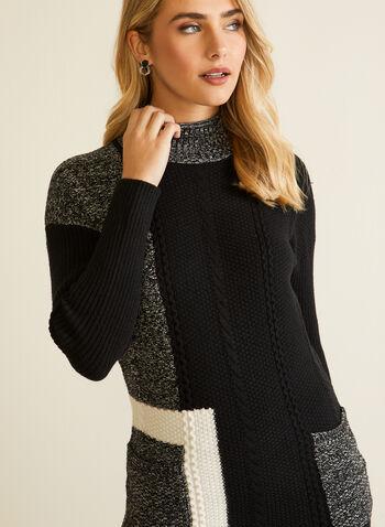 Pull en tricot à blocs monochrome, Noir,  automne hiver 2020, pull, tricot, chandail, col cheminée, col roulé, manches longues, poches, blocs, monochrome, tunique