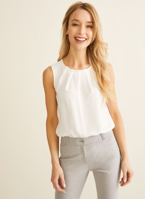 Pleated Sleeveless Blouse, Off White