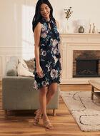 Floral Print Halter Neck Dress, Blue