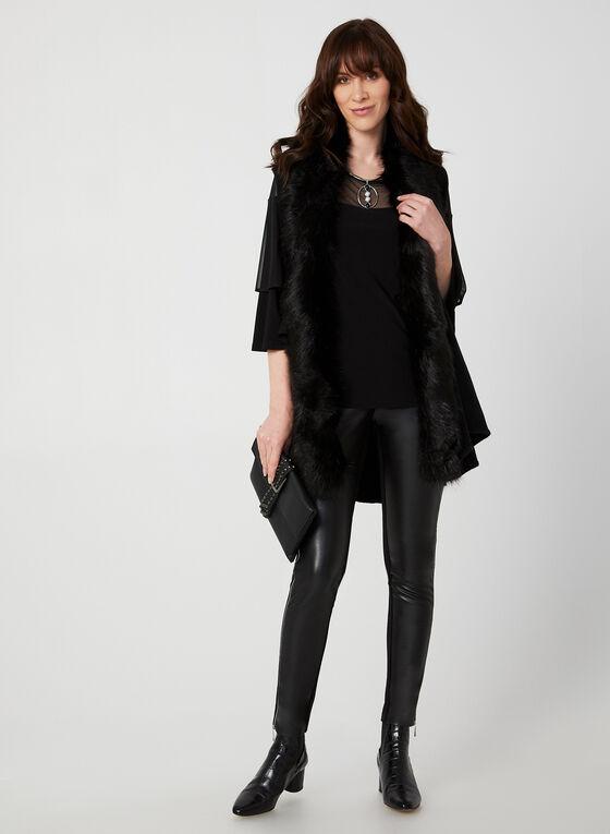 Haut en jersey et maille filet, Noir