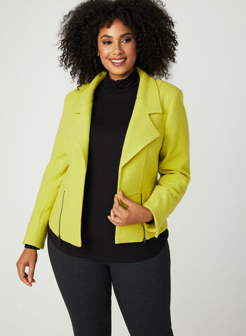 Open Front Wool Blend Jacket, Green, hi-res