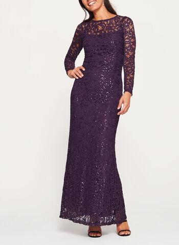 Sequin Lace Long Sleeve Dress, Purple, hi-res