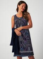 Ensemble robe imprimée et veste drapée, Bleu