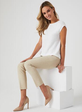 Drop Shoulder Knit Top, White, hi-res