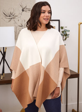 Foulard surdimensionné à blocs de couleurs, Beige,  accessoires, foulard, écharpe, surdimensionné, motif, blocs de couleurs, deux couleurs, doux, automne hiver 2021