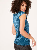Off The Shoulder Crushed Velvet Top, Blue, hi-res