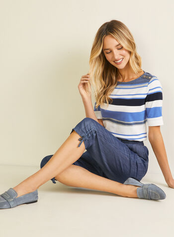 Stripe Print Elbow Sleeve Tee, Blue,  t-shirt, boat neck, striped, elbow sleeves, cotton, spring summer 2020
