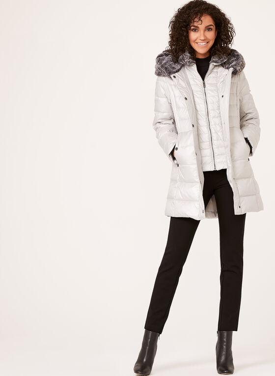 Novelti - Manteau en duvet avec col en fausse fourrure, Argent, hi-res