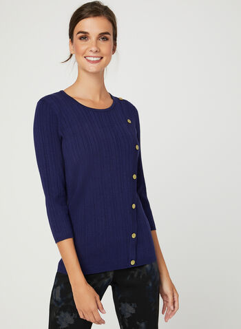 Metal Detail Rib Knit Sweater, Blue, hi-res