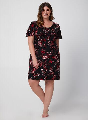 Hamilton – Floral Print Nightshirt, Red,  nighty, pyjama
