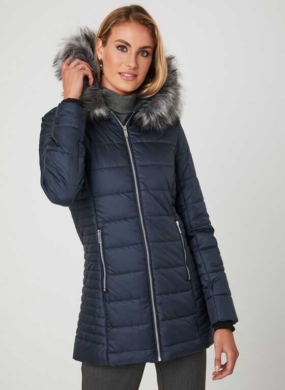 Manteau matelassé avec col amovible en fausse fourrure   , Bleu