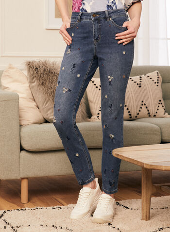 Jeans à jambe droite et broderies florales , Bleu,  jeans, denim, poches, jambe droite, broderies, fleurs, florales, printemps été 2021