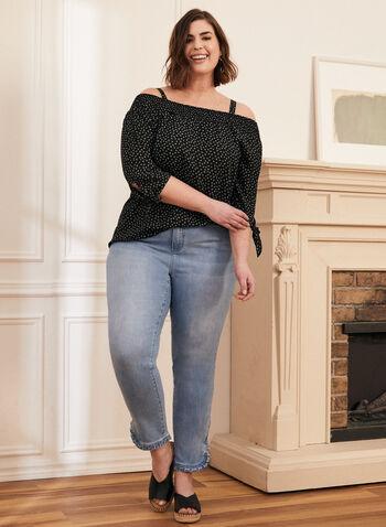 Jeans à jambe étroite et détails volantés, Bleu,  jeans, denim, jambe étroite, poches, volants, fente, extensible, printemps été 2021