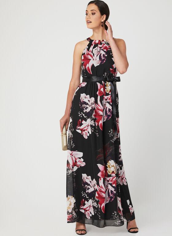 Floral Print Cleo Neck Dress, Black, hi-res