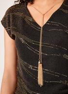 Haut en fibres métallisées et collier sautoir amovible, Jaune, hi-res