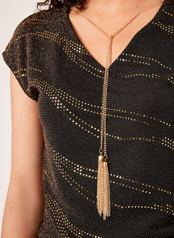 Metallic Fibre Top , Yellow, hi-res