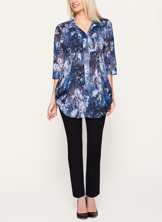 ¾ Sleeve Floral Print Tunic Blouse, Blue, hi-res