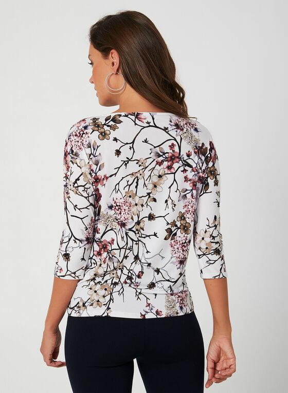 Haut en jersey à imprimé floral oriental, Blanc, hi-res