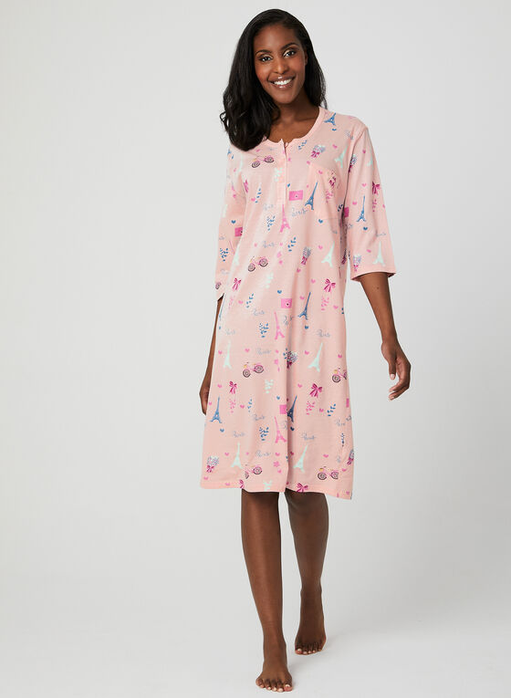 Bellina - Cotton Nightgown, Pink, hi-res