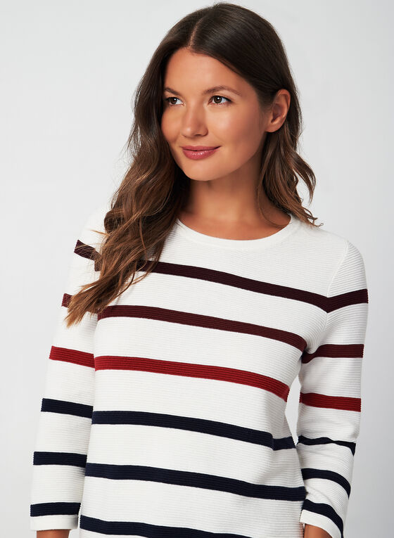 Stripe Print Sweater, White