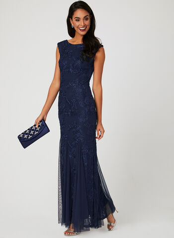 Long Embroidered Dress, Blue, hi-res