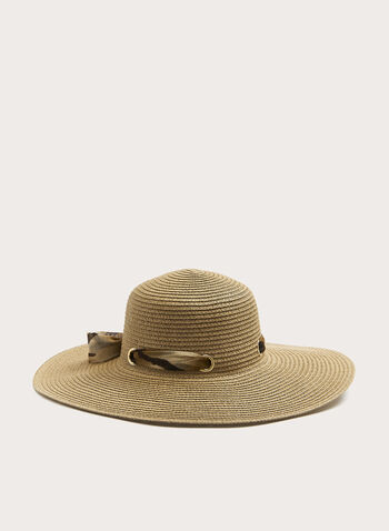Animal Print Ribbon Straw Hat , Off White, hi-res