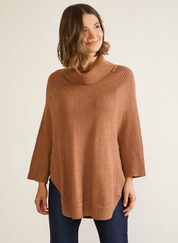 Poncho en tricot à col châle, Brun,  automne hiver 2020, poncho, pull, tricot, col châle