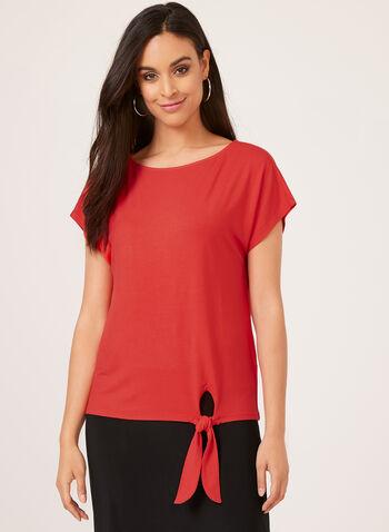 T-shirt à col bateau et détail nœud, Rouge, hi-res