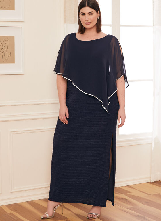 Robe métallisée à poncho en mousseline, Bleu