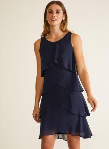 Sleeveless Ruffle Dress, Blue,  fall winter 2020, parties, parties 2020, dress, chiffon, sleeveless, ruffles, boat neck, holiday, holiday 2020, gift, muslin