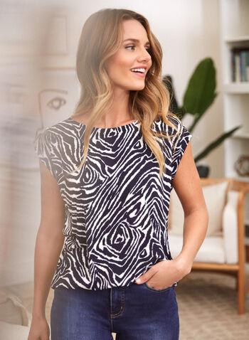 Zebra Print Button Detail Top, Blue,  fall winter 2021, made in Canada, scoop neck, top, tee, blouse, button detail, short sleeve, zebra print, drop shoulder